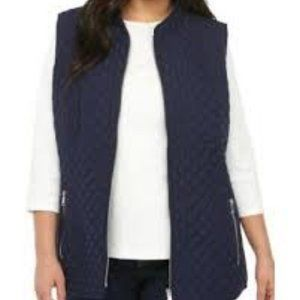 New Directions Sleeveless Vest Quilted Ribbed Side